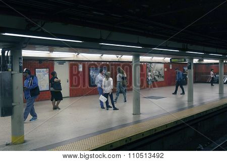 People Wait On Platform Of Subway Station Bowling Green In Lower Manhattan
