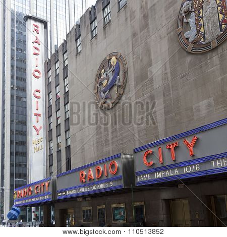 Side Facade Of Radio City Music Hall In Manhattan New York City