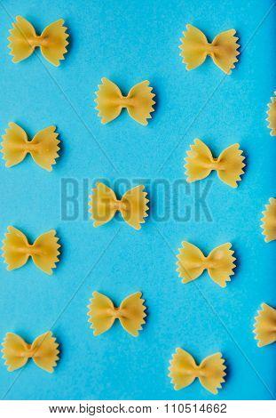 Italian Farfale Pasta Pattern On Blue Background