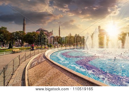 Fountain Near Sophia Basilica Museum In Istanbul At Sunset