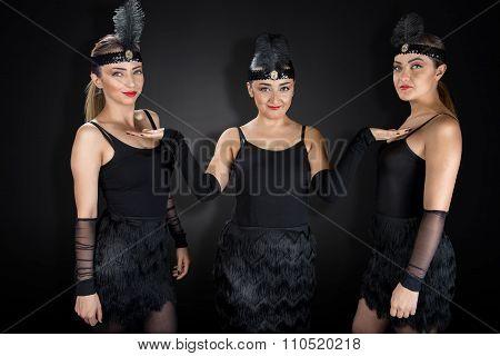 Showgirls in Black Charelston Costume