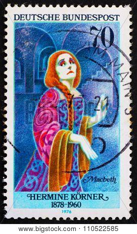 Postage Stamp Germany 1976 Hermine Korner As Lady Macbeth