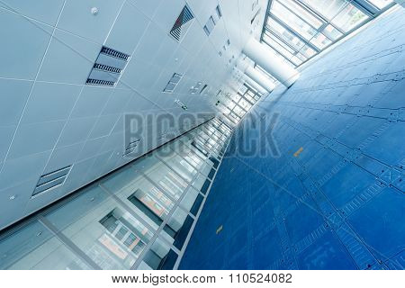 interior of modern office building with specific floor and ceiling