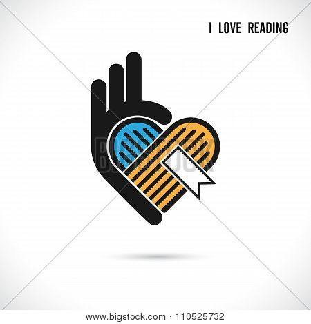 Creative Book And Heart Abstract Vector Logo Design.book Store,library Logo Design.learning,study Id