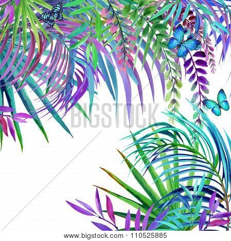 Watercolor tropical nature background. Tropical leaves, flowers and butterfly. watercolor summer flo