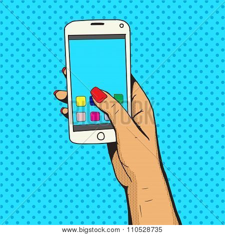 Female hand with phone pop art vector