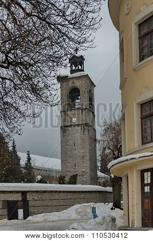 Clock tower at church in Bansko town, Bulgaria