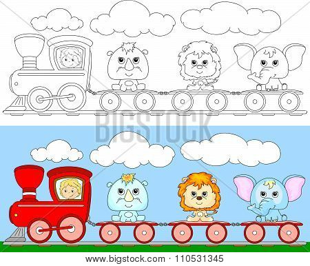 Funny Cartoon Train With Lion, Elephant And Rhino. Coloring Book For Kids