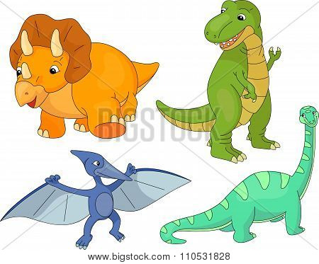 Set Of Diplodocus, Tyrannosaur, Pterodactyl And Triceratops