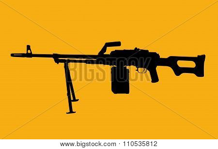 Machine Gun Silhouette On Yellow As A Symbol Of Military Activities