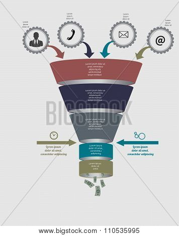 Funnel flow chart. Vector Template for diagram, graph, presentation and chart