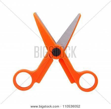 Pair Of Orange Scissors On White