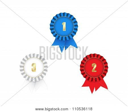 Vector Medals With Ribbons 1St 2Nd 3Rd Place Red White And Blue On A White Background