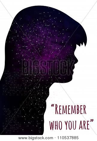 poster of Vector silhouette of boy on a space background with quote