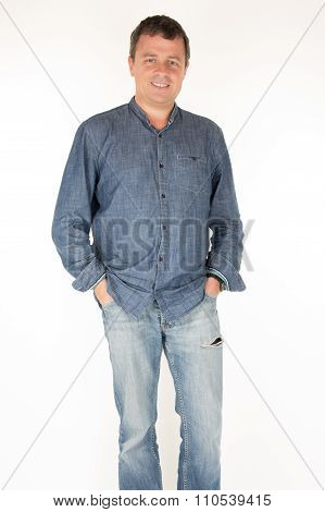 Attractive 40-year-old Man On White Background