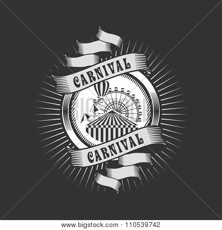 vector emblem badges carnival and amusement park in the style of steam punk round shape poster