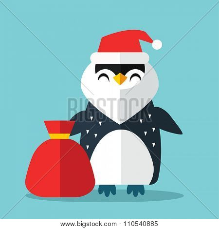 Penguin Sanata hat and gift sack vector illustration. Cartoon funny penguins icon isolated. Penguin vector, Santa Christmas helper, christmas penguin. Cartoon penguin vector icon illustration. Penguin