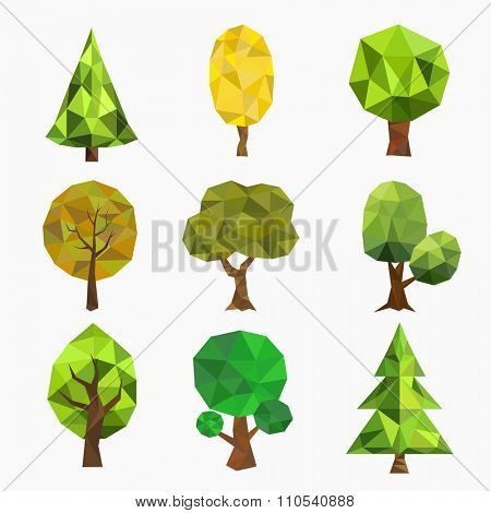 Stylized vector tree collection. Vector tree flat silhouette isolated on white. Tree different size and forms. Tree icons set. Tree eco nature. Green collection of tree. Leaves, tree. Tree vector