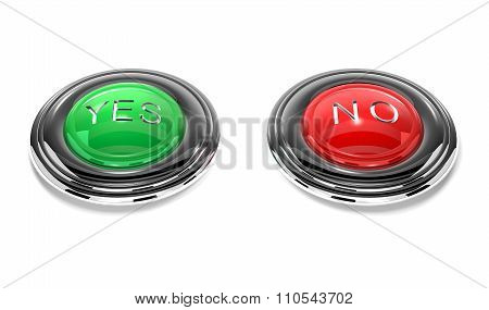 Yes And No Buttons Are On White Background.