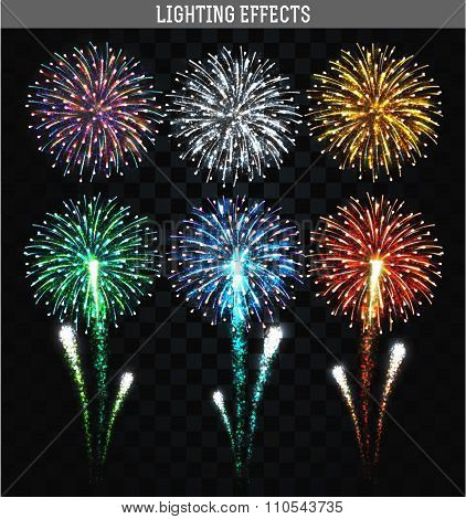Set of 6 realistic fireworks different colors. Festive, bright firework