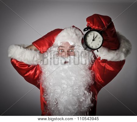 Santa Claus And A Clock
