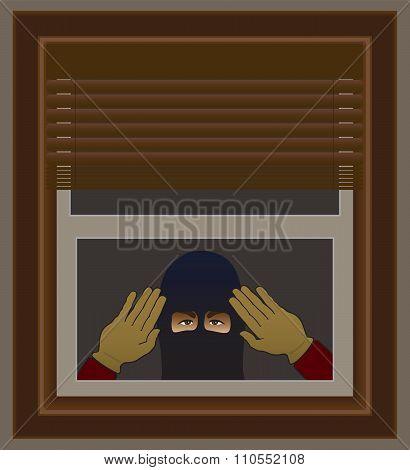 Burglar in ski mask peering through window poster