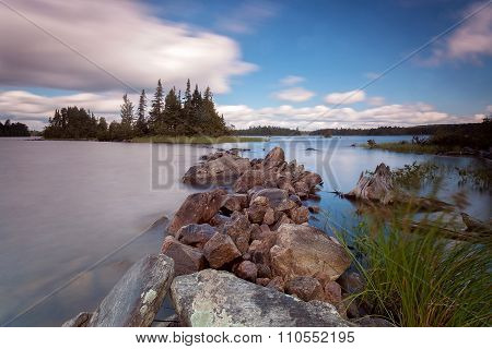 forest lake in Algonquin Provincial Park, Ontario, Canada