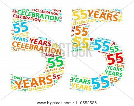 Colorful word cloud for celebrating a 55 year birthday or anniversary