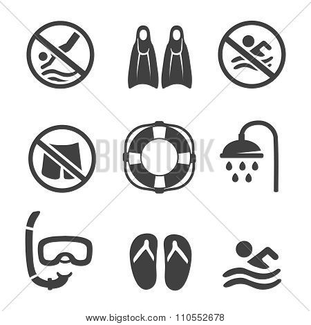 Swimming pool icons, diving, mask,  flippers and shower. sport vector icons set