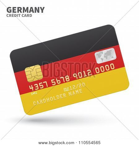 Credit card with Germany flag background for bank, presentations and business. Isolated on white