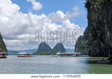 The Tourist Boats On The Bay Near Karst Islands. Islands At Phang Nga Bay Near Krabi And Phuket. Tha