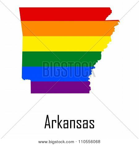 Vector Rainbow Map Of Arkansas In Colors Of Lgbt - Lesbian, Gay, Bisexual, And Transgender - Pride F