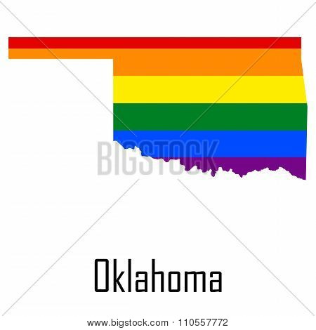 Vector Rainbow Map Of Oklahoma In Colors Of Lgbt - Lesbian, Gay, Bisexual, And Transgender - Pride F