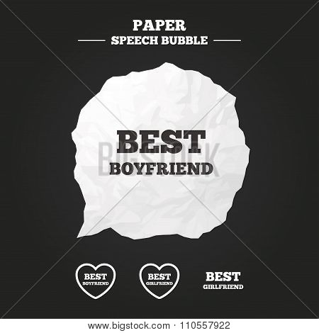 Best boyfriend and girlfriend icons. Heart love signs. Award symbol. Paper speech bubble with icon. poster