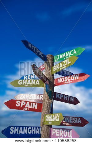 Signs  showing distances to major countries on the tropical beach