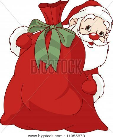 Santa Claus And The Bag Of Christmas Gifts