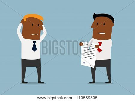 Black businessman tearing apart a contract
