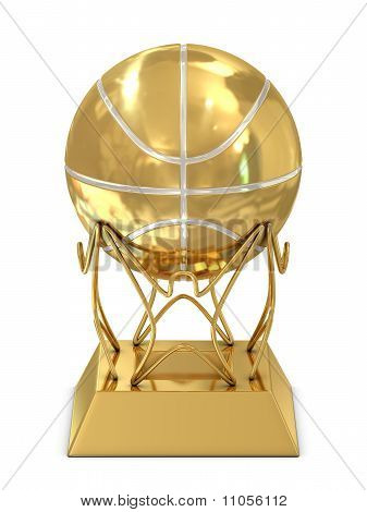 Golden - silver basketball trophy
