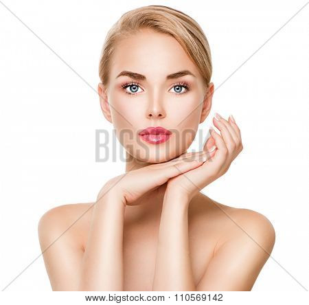 Beauty Spa young Woman portrait isolated on white background. Beautiful model girl with beauty makeup touching her perfect fresh face skin. Youth and skin care concept