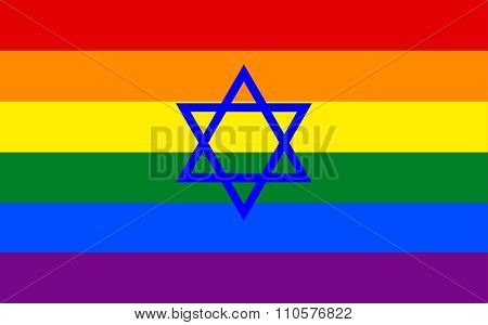 Israeli Gay Pride Flag With Blue Star Of David In Vector Format.