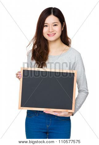 Asian Young Woman show with chalkboard