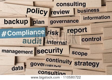 Compliance and audit in word tag cloud on wooden blocks poster