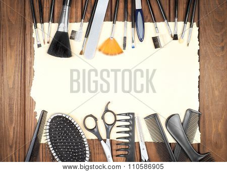 Professional Hairdresser And Make Up Tools On Table Close-up