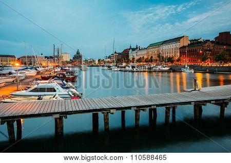 Embankment At Summer Evening In Helsinki, Finland.