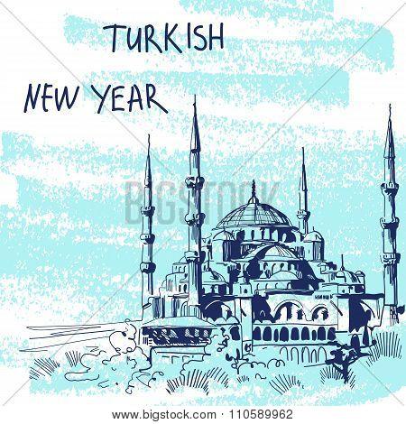 New Year Vector Illustration. World Famous Landmark Series: Turk