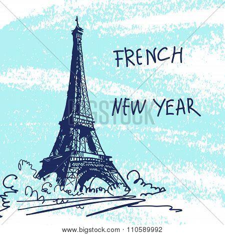 New Year Vector Illustration. World Famous Landmark Series: Fran