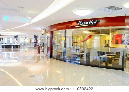 SHENZHEN, CHINA - MAY 25, 2015:  exterior of Pizza Hut restaurant. Pizza Hut is an American restaurant chain and international franchise, known for pizza and side dishes.