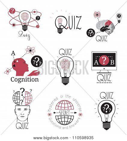 Quiz logo emblems labels design element. Mind games logo.