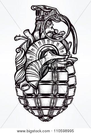 Hand drawn design of Heart Grenade.