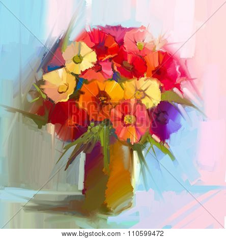 Oil Painting still life of bouquet yellow red color Gerbera, daisy and green leaf in vase.